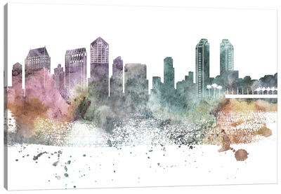 San Diego Pastel Skylines Canvas Art Print