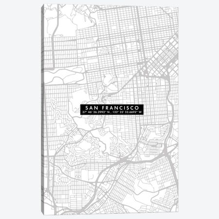 San Francisco City Map Minimal Canvas Print #WDA437} by WallDecorAddict Art Print