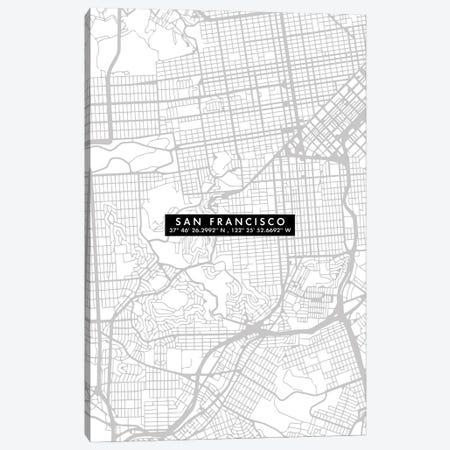 San Francisco City Map Minimal Canvas Print #WDA437} by WallDecorAddict Art Print