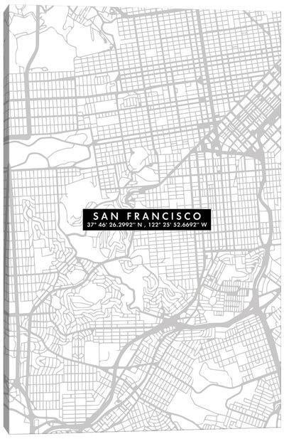 San Francisco City Map Minimal Canvas Art Print