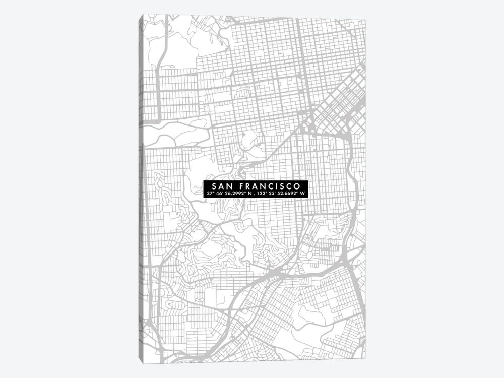 San Francisco City Map Minimal by WallDecorAddict 1-piece Canvas Art