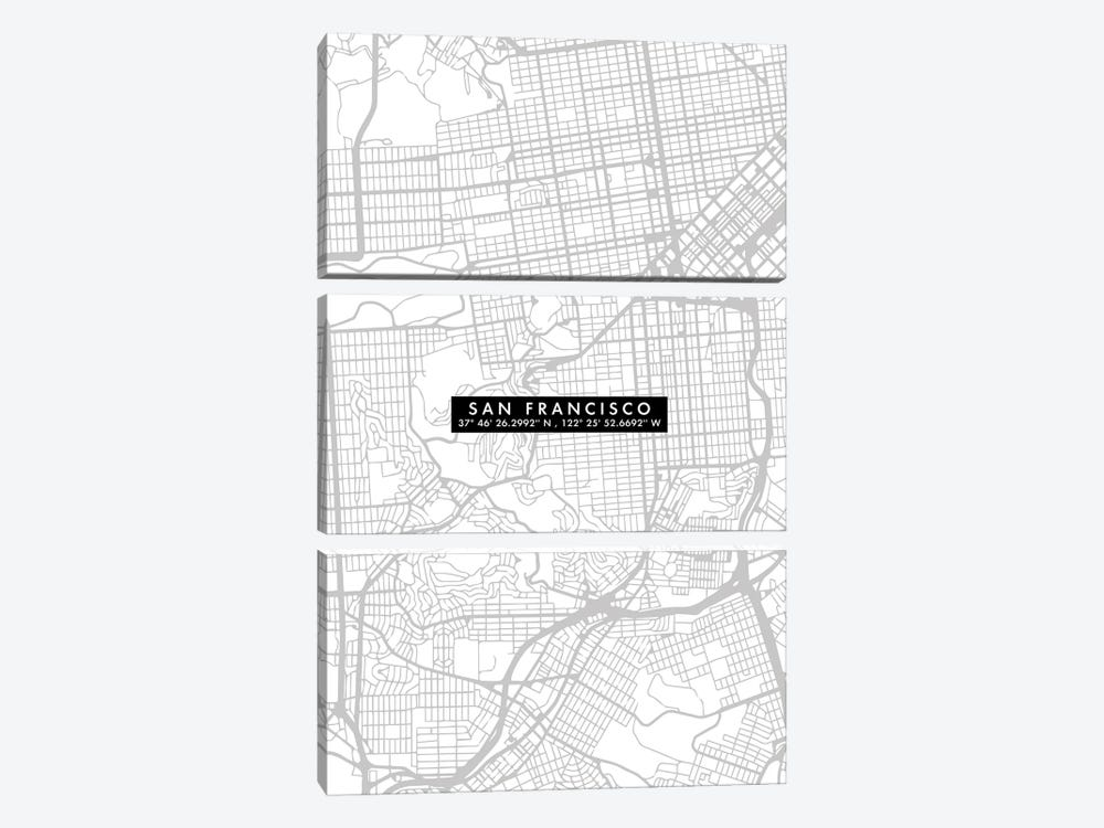 San Francisco City Map Minimal 3-piece Canvas Wall Art