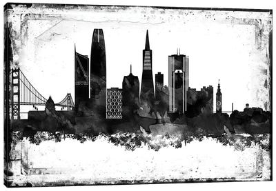 San Francisco Black And White Framed Skylines Canvas Art Print