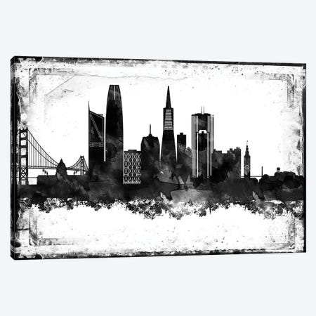 San Francisco Black And White Framed Skylines Canvas Print #WDA439} by WallDecorAddict Canvas Wall Art