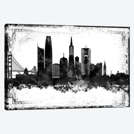 San Francisco Black And White Framed Skylines Canvas Print #WDA439} by WallDecorAddict Canvas Wall Art