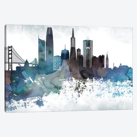 San Francisco Bluish Skylines Canvas Print #WDA440} by WallDecorAddict Art Print