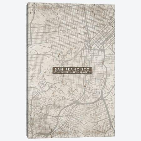 San Francisco City Map Abstract Canvas Print #WDA441} by WallDecorAddict Canvas Art Print