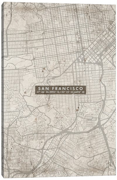 San Francisco City Map Abstract Canvas Art Print