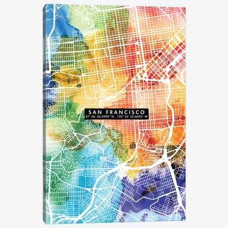 San Francisco City Map Colorful Canvas Print #WDA442} by WallDecorAddict Art Print