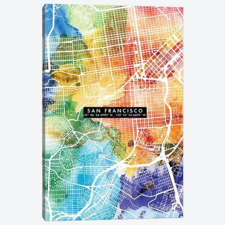 San Francisco City Map Colorful Canvas Print #WDA442} by WallDecorAddict Art Print