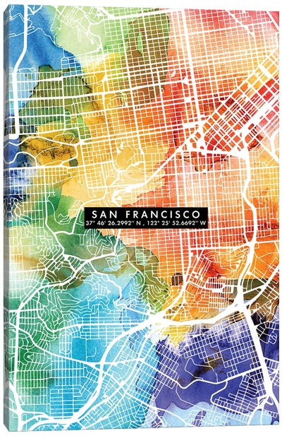 San Francisco City Map Colorful Canvas Art Print
