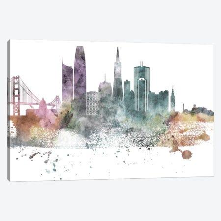 San Francisco Pastel Skylines Canvas Print #WDA444} by WallDecorAddict Canvas Wall Art