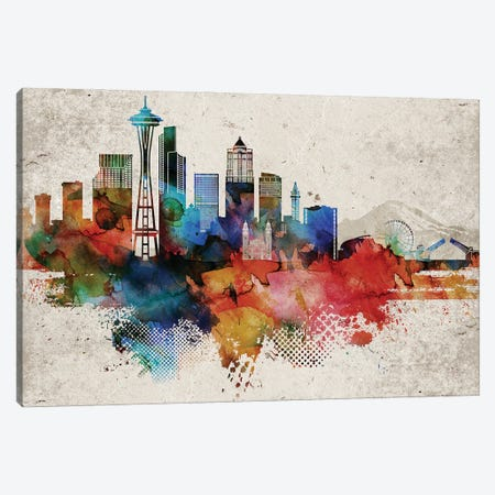 Seattle Abstract Canvas Print #WDA445} by WallDecorAddict Canvas Wall Art
