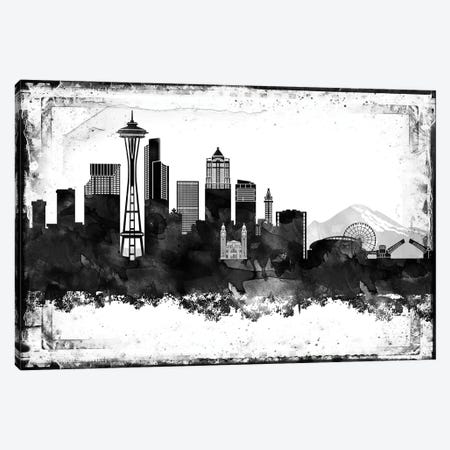 Seattle Black And White Framed Skylines Canvas Print #WDA446} by WallDecorAddict Canvas Wall Art