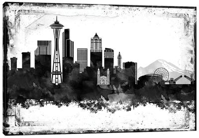 Seattle Black And White Framed Skylines Canvas Art Print