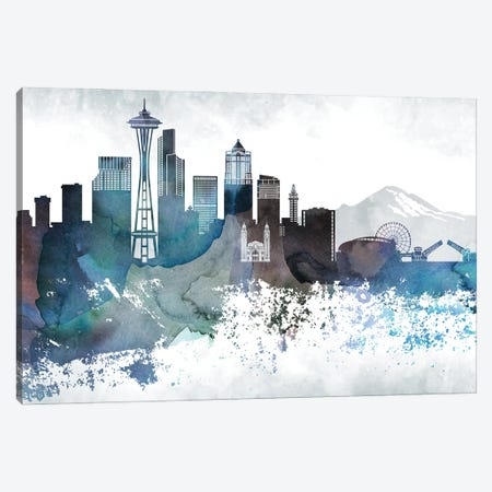 Seattle Bluish Skylines Canvas Print #WDA447} by WallDecorAddict Canvas Wall Art