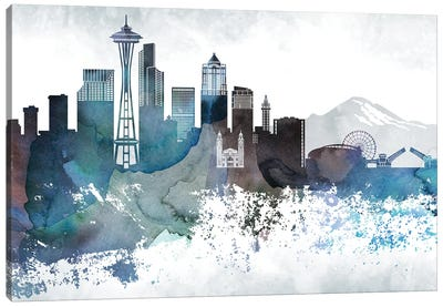 Seattle Bluish Skylines Canvas Art Print