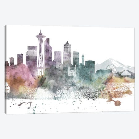 Seattle Pastel Skylines Canvas Print #WDA448} by WallDecorAddict Canvas Print