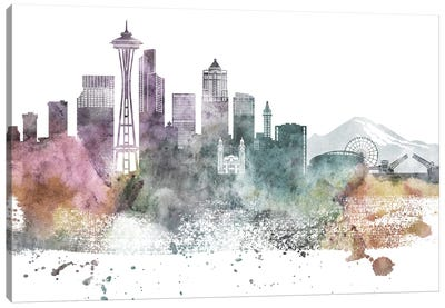 Seattle Pastel Skylines Canvas Art Print