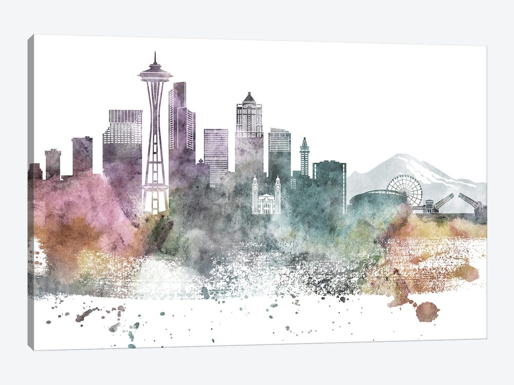 Seattle Pastel Skylines by WallDecorAddict 1-piece Canvas Artwork