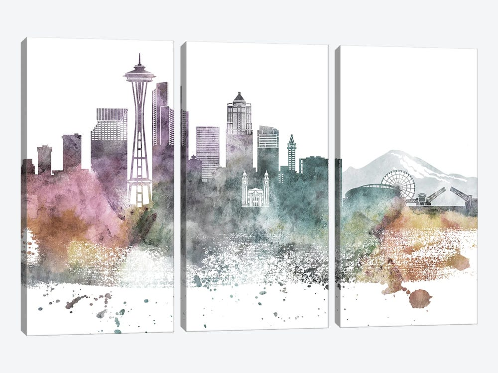 Seattle Pastel Skylines by WallDecorAddict 3-piece Canvas Artwork