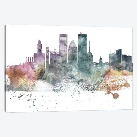 Baltimore Pastel Skylines Canvas Print #WDA44} by WallDecorAddict Canvas Artwork