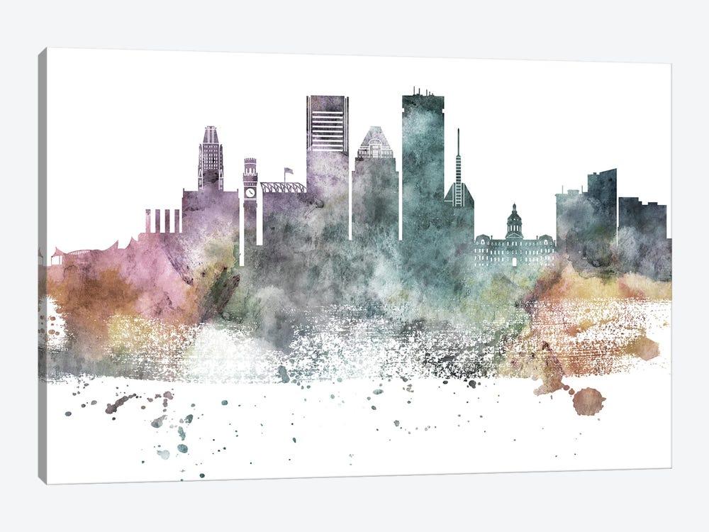 Baltimore Pastel Skylines by WallDecorAddict 1-piece Canvas Art Print