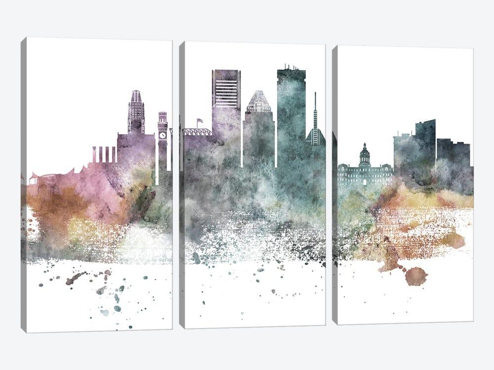 Baltimore Pastel Skylines by WallDecorAddict 3-piece Art Print
