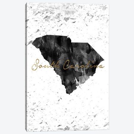 South Carolina Black And White Gold Canvas Print #WDA450} by WallDecorAddict Canvas Artwork
