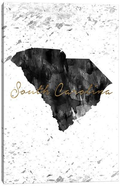South Carolina Black And White Gold Canvas Art Print