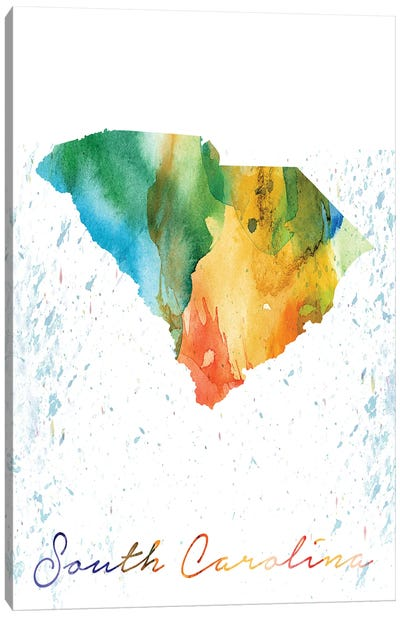 South Carolina State Colorful Canvas Art Print