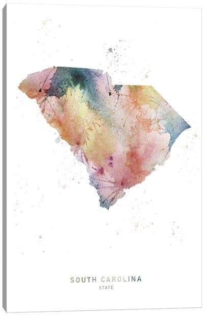South Carolina Watercolor State Map Canvas Art Print