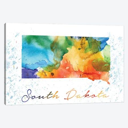 South Dakota State Colorful Canvas Print #WDA457} by WallDecorAddict Canvas Art Print