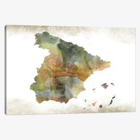 Spain Greenish Map Canvas Print #WDA459} by WallDecorAddict Canvas Wall Art
