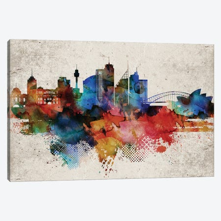 Sydney Abstract Canvas Print #WDA461} by WallDecorAddict Art Print