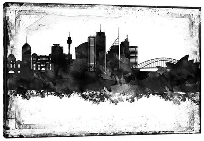 Sydney Black And White Framed Skylines Canvas Art Print