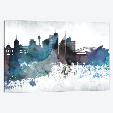 Sydney Bluish Skylines Canvas Print #WDA463} by WallDecorAddict Canvas Print