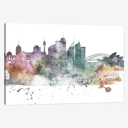 Sydney Pastel Skylines Canvas Print #WDA464} by WallDecorAddict Canvas Art