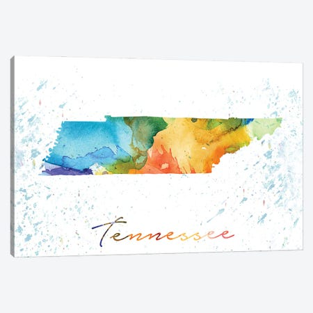 Tennessee State Colorful Canvas Print #WDA468} by WallDecorAddict Canvas Print