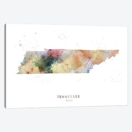Tennessee Watercolor State Map Canvas Print #WDA469} by WallDecorAddict Canvas Art Print
