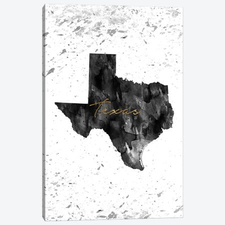 Texas Black And White Gold Canvas Print #WDA471} by WallDecorAddict Canvas Artwork