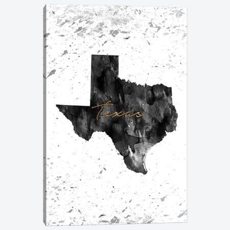 Texas Black And White Gold Canvas Print #WDA471} by WallDecorAddict Canvas Artwork