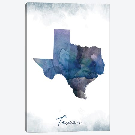 Texas State Bluish Canvas Print #WDA472} by WallDecorAddict Canvas Art