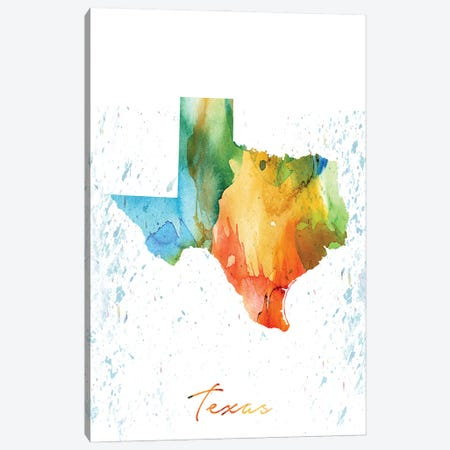 Texas State Colorful Canvas Print #WDA473} by WallDecorAddict Canvas Art
