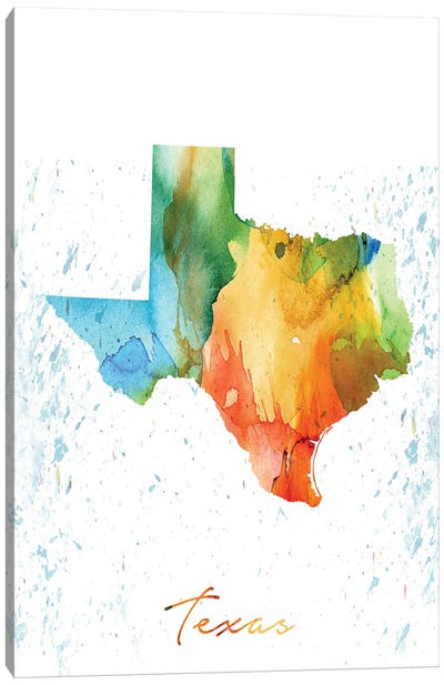 Texas State Colorful Canvas Art Print