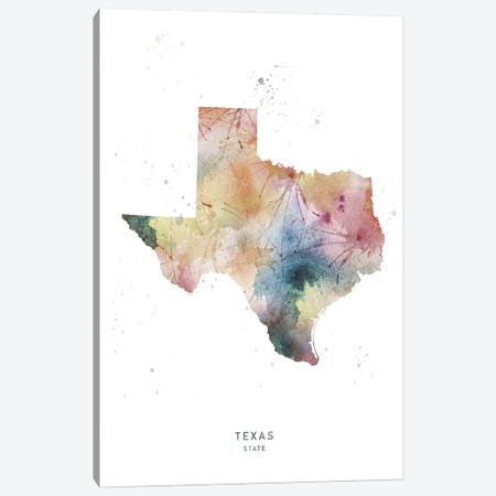Texas State Watercolor Canvas Print #WDA474} by WallDecorAddict Canvas Art Print