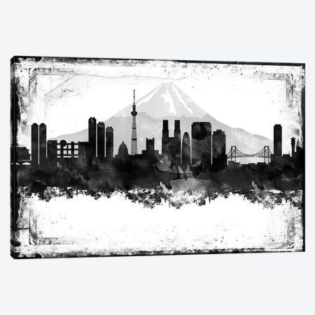 Tokyo Black And White Framed Skylines Canvas Print #WDA475} by WallDecorAddict Canvas Print
