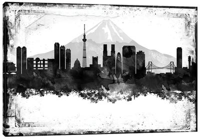 Tokyo Black And White Framed Skylines Canvas Art Print