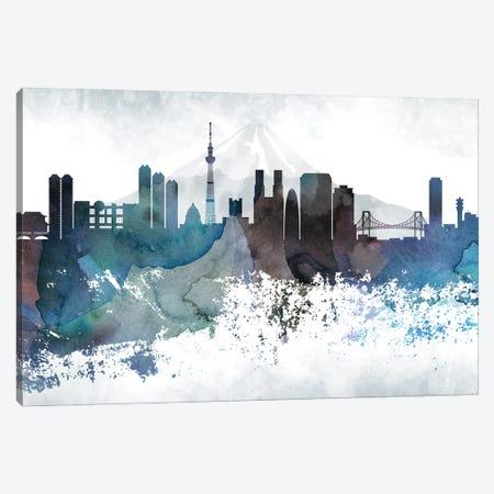 Tokyo Bluish Skylines Canvas Print #WDA477} by WallDecorAddict Canvas Print