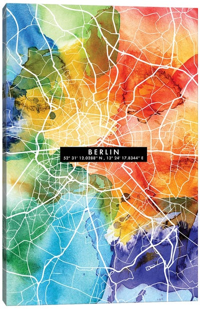 Berlin City Map Colorful Canvas Art Print